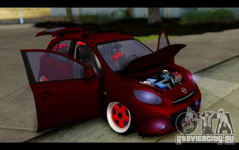 Nissan March 2011 Hellaflush для GTA San Andreas вид сбоку