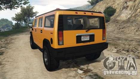 Hummer H2 2005 для GTA 5 вид сзади слева
