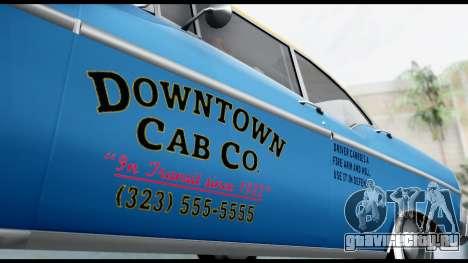 GTA 5 Declasse Cabbie v2 для GTA San Andreas вид сзади слева