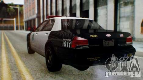 GTA 5 Vapid Stanier II Police для GTA San Andreas вид слева