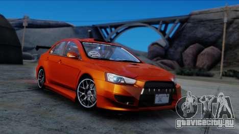 Mitsubishi Lancer Evolution X Tunable New PJ для GTA San Andreas вид справа