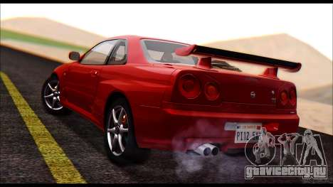 Nissan Skyline R-34 GT-R V-spec 1999 No Dirt для GTA San Andreas вид слева