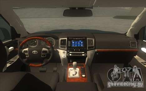 Toyota Land Cruiser 200 2016 для GTA San Andreas вид сзади слева