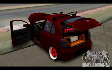 Nissan March 2011 Hellaflush для GTA San Andreas вид снизу