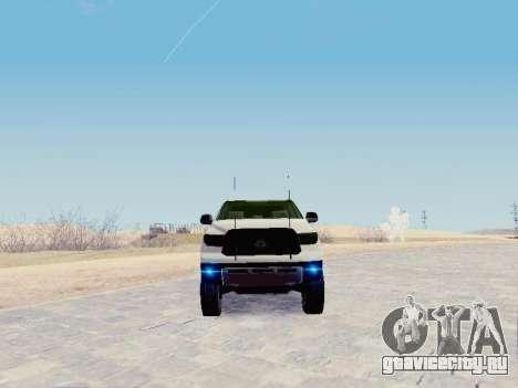 Toyota Tundra 2012 Semi-Off-road для GTA San Andreas вид сзади