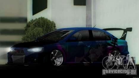 Mitsubishi Lancer X by Venceslav Sexy для GTA San Andreas вид справа