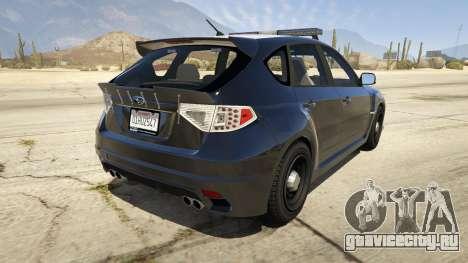 LAPD Subaru Impreza WRX STI для GTA 5 вид сзади слева
