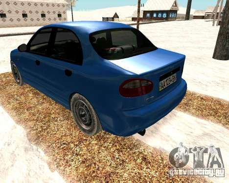 Daewoo Lanos 2001 Winter для GTA San Andreas вид сзади слева
