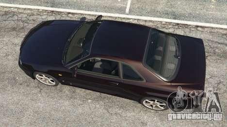 Nissan Skyline GT-R (R34) 1999 для GTA 5 вид сзади