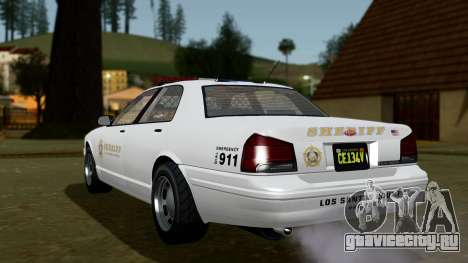 GTA 5 Vapid Stanier II Sheriff Cruiser IVF для GTA San Andreas вид слева