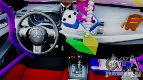 Mitsubishi Lancer Evolution X Hellaflush для GTA San Andreas вид сзади