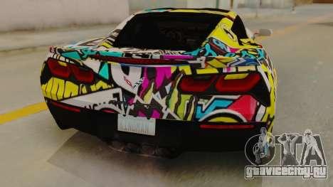 Chevrolet Corvette Stingray C7 2014 Sticker Bomb для GTA San Andreas вид сзади