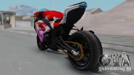 Kawasaki Ninja FI Custom Rias Gremory Itasha для GTA San Andreas вид сзади слева