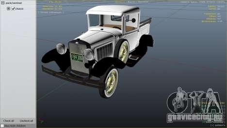 Ford A Pick-up 1930 для GTA 5 вид справа