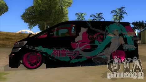Toyota Vellfire Miku Pocky Exhaust v2 FIX для GTA San Andreas вид слева