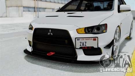 Mitsubishi Lancer Evolution X GSR Full Tunable для GTA San Andreas вид сверху