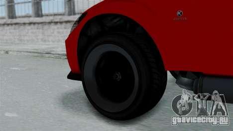 GTA 5 Karin Sultan RS Stock PJ для GTA San Andreas вид сзади слева