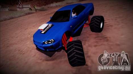 Nissan Skyline R34 Monster Truck для GTA San Andreas вид сзади