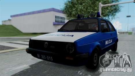 Volkswagen Golf Mk2 Milicija для GTA San Andreas