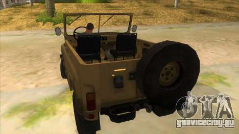 UAZ-469 Desert для GTA San Andreas вид сзади слева