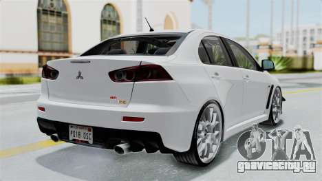Mitsubishi Lancer Evolution X GSR Full Tunable для GTA San Andreas вид слева