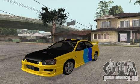 Subaru Impreza WRX STi Tunable для GTA San Andreas вид сзади слева