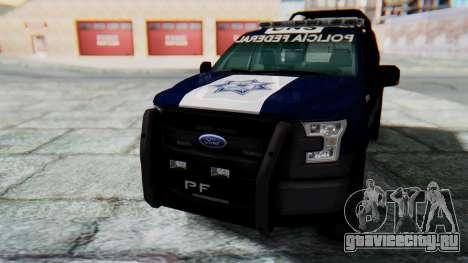Ford F-150 2015 Policia Federal для GTA San Andreas вид справа