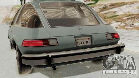 AMC Pacer 1978 IVF для GTA San Andreas вид изнутри
