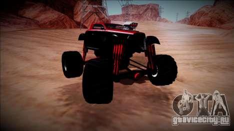 GTA 5 Hotknife Monster Truck для GTA San Andreas вид изнутри