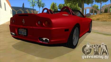 Ferrari 550 Barchetta Pinifarina US Specs 2001 для GTA San Andreas вид справа
