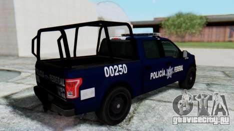 Ford F-150 2015 Policia Federal для GTA San Andreas вид сзади слева