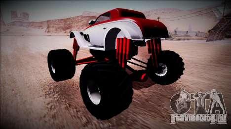 GTA 5 Hotknife Monster Truck для GTA San Andreas вид сзади слева
