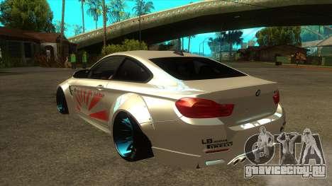 BMW M4 Liberty Walk Performance для GTA San Andreas вид сзади слева