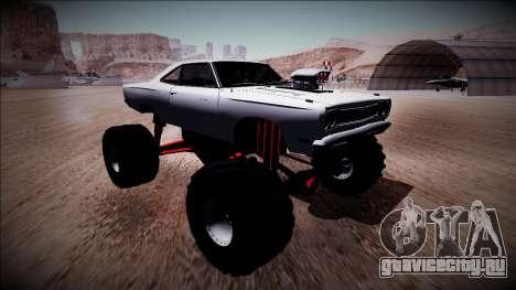 1969 Plymouth Road Runner Monster Truck для GTA San Andreas вид изнутри
