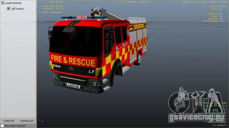 DAF Lancashire Fire & Rescue Fire Appliance для GTA 5 вид справа