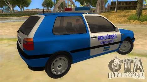 Volkswagen Golf 3 Police для GTA San Andreas вид справа
