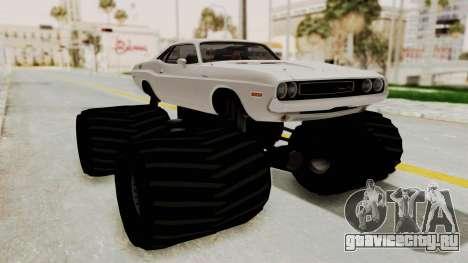 Dodge Challenger 1970 Monster Truck для GTA San Andreas вид сзади слева