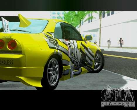Nissan R33 GT-R Tunable для GTA San Andreas вид сзади слева