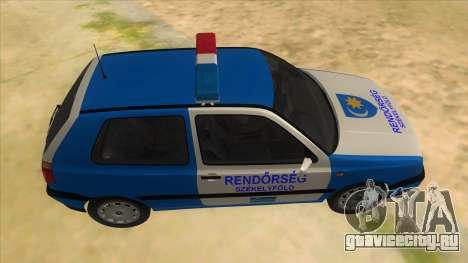 Volkswagen Golf 3 Police для GTA San Andreas вид изнутри