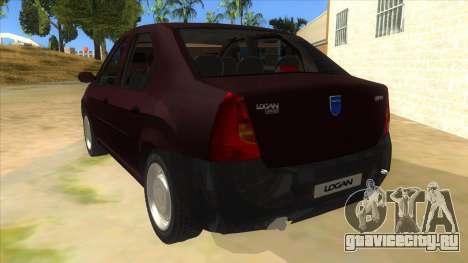 Dacia Logan V2 Final для GTA San Andreas вид сзади слева