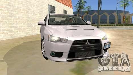 Mitsubishi Lancer Evolution X Tunable для GTA San Andreas вид сзади