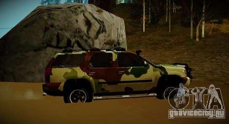 Chevrolet Tahoe LTZ v2 Camofluge для GTA San Andreas вид сзади слева