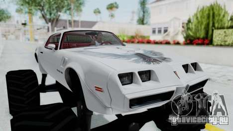 Pontiac Firebird Trans Am Monster Truck 1980 для GTA San Andreas вид сзади