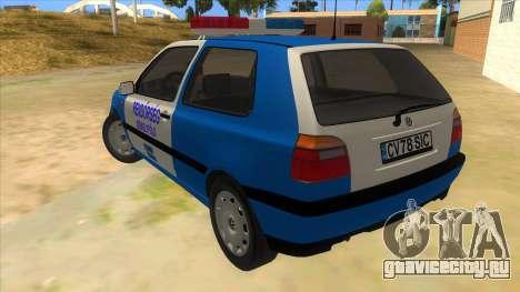Volkswagen Golf 3 Police для GTA San Andreas вид сзади слева
