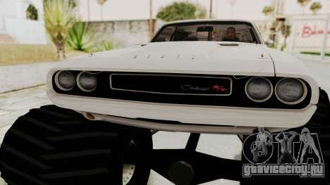 Dodge Challenger 1970 Monster Truck для GTA San Andreas вид сзади