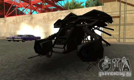 The Dark Knight Rises BAT v1 для GTA San Andreas вид сзади слева