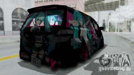 Toyota Vellfire Miku Pocky Exhaust Final Version для GTA San Andreas вид слева
