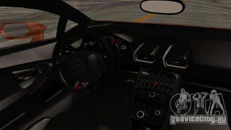 Lamborghini Huracan Libertywalk Kato Design для GTA San Andreas вид изнутри
