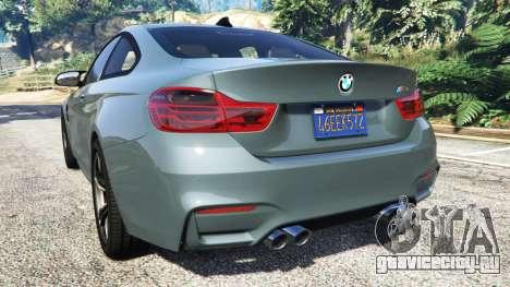 BMW M4 GTS для GTA 5 вид сзади слева