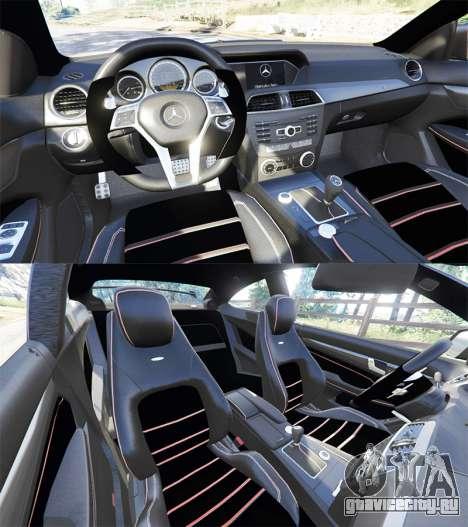 Mercedes-Benz C63 Coupe для GTA 5 вид сзади справа